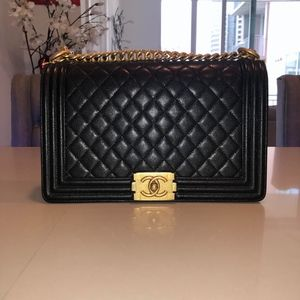 Chanel Boy Le New Medium W/ Gold Hardware
